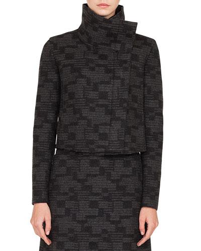 Rhode Island Funnel-Collar Printed Tweed Cashmere Short Jacket