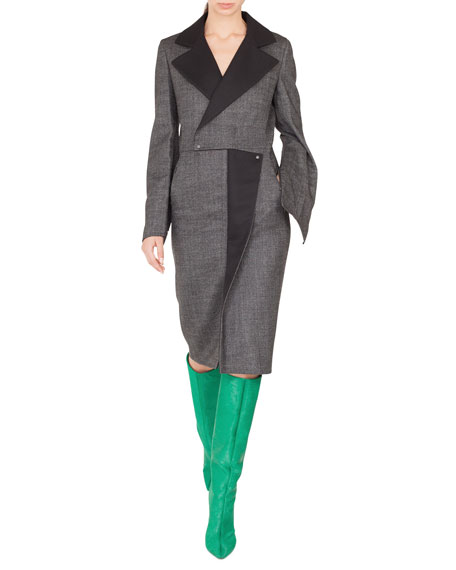 Notched-Lapel Wrap-Style Wool Tweed Dress