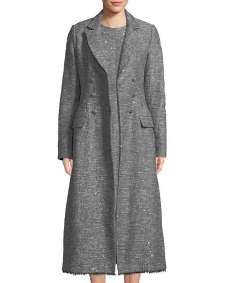 Double-Breasted Seamed Tweed Coat w/ Fringe Hem