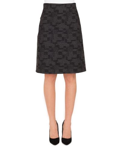 A-Line Check Cashmere Fleece Knee-Length Skirt