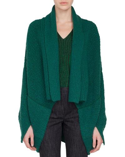 Open-Front Asymmetric-Cut Boucle Cashmere-Wool Cardigan