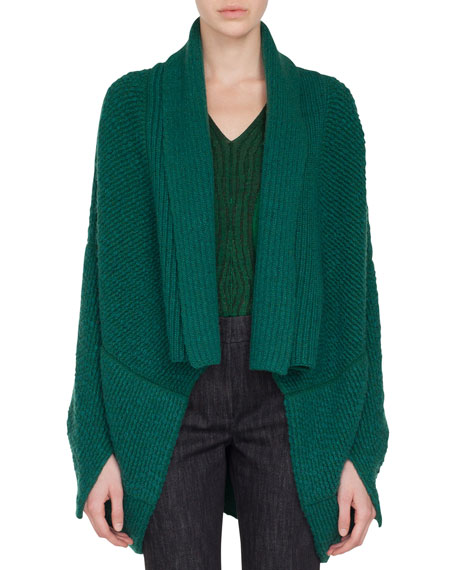 Akris Open-Front Asymmetric-Cut Boucle Cashmere-Wool Cardigan and