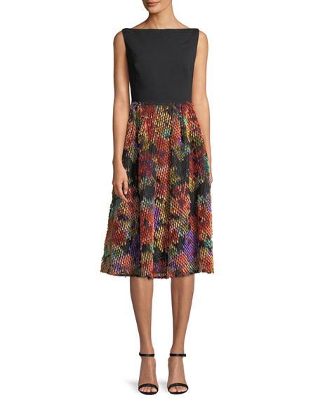 Lela Rose Boat-Neck Sleeveless Fit-and-Flare Cocktail Dress w/