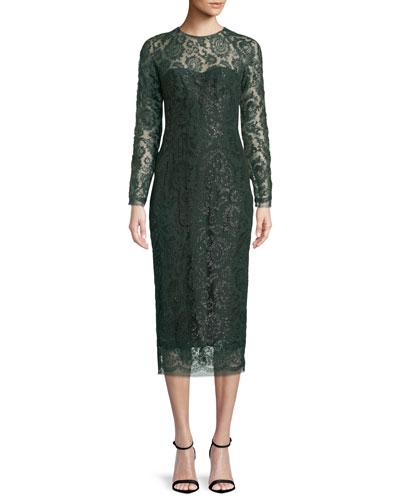Long-Sleeve Jewel-Neck Lace Sheath Cocktail Dress