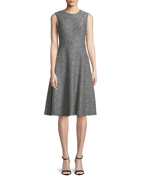 LELA ROSE Sequin Sleeveless Seamed Fit-And-Flare Dress in Silver