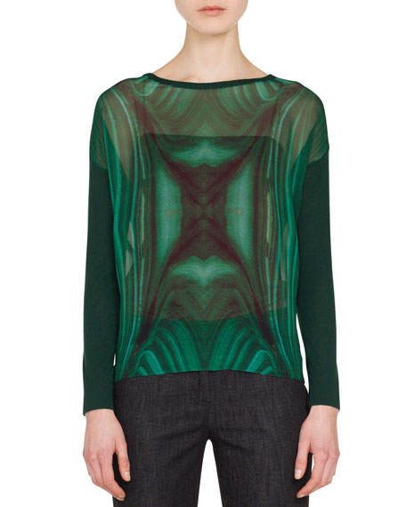 Boat-Neck Long-Sleeve Malachite-Print Cashmere-Silk Blouse