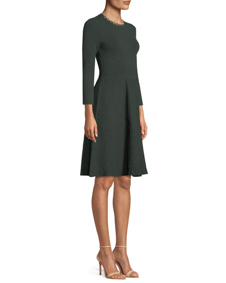 Jewel-Neck Long-Sleeve Fit-and-Flare Knit Jacquard Dress