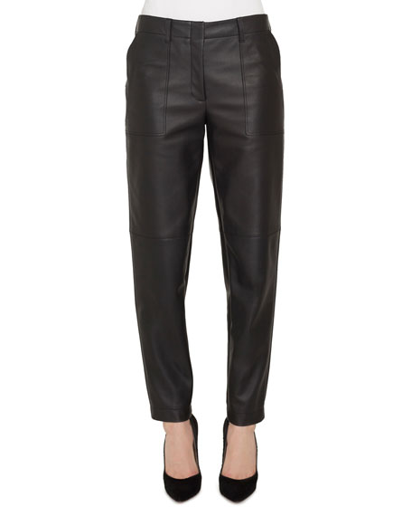 Florin Conical-Leg Leather Cargo Pants