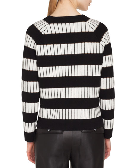 Crewneck Long-Sleeve Striped-Embroidered Cashmere Sweater