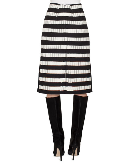 A-Line Striped-Embroidered Long Skirt w/ Slits