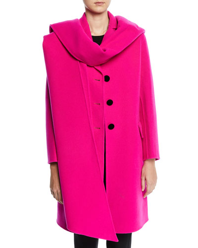 Long Notched-Collar Wool Coat with Removable Scarf