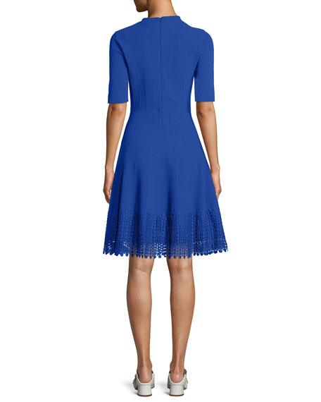 High-Neck Elbow-Sleeve Fit-and-Flare Knit Dress with Lace Hem