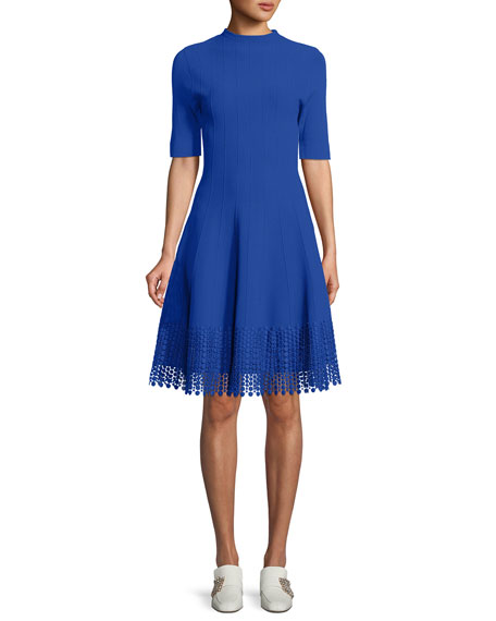 Lela Rose High-Neck Elbow-Sleeve Fit-and-Flare Knit Dress with