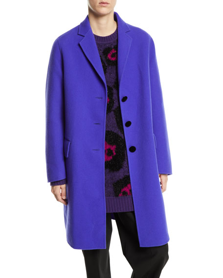 Notch-Collar Button-Front Wool-Blend Mid-Length Slim Caban Coat