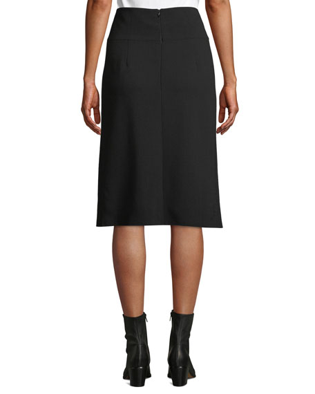 High-Waist A-Line Leather-Slit Wool Skirt
