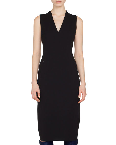 Sleeveless V-Neck Silk Crepe Sheath Dress w/ Side Slits