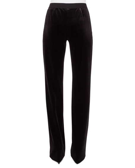 Carl Straight-Leg Velvet Pants w/ Elastic Waistband