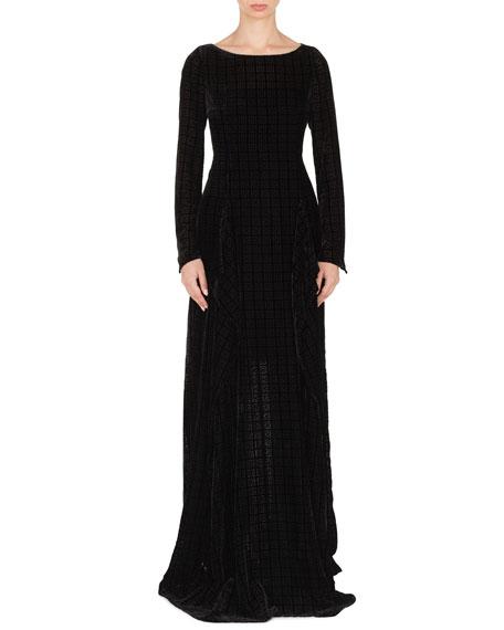 Round-Neck Long-Sleeve Burnout Velvet Evening Gown w/ Side Slit