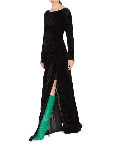 Round-Neck Long-Sleeve Burnout Velvet Evening Gown w/ Side Slit