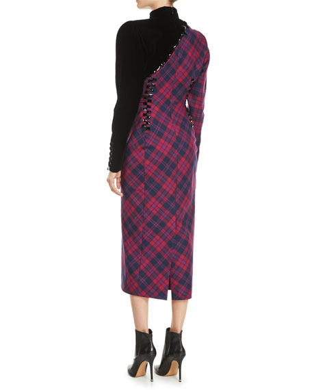 Mock-Neck Long-Sleeve Asymmetric Plaid Wool Midi Dress w/ Beading