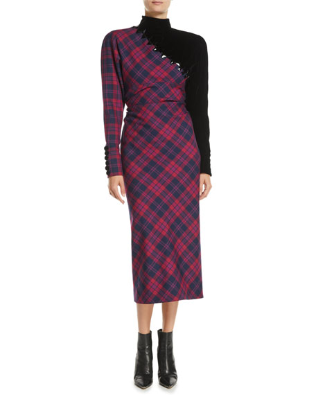 Mock-Neck Long-Sleeve Asymmetric Plaid Wool Midi Dress W/ Beading in Pink