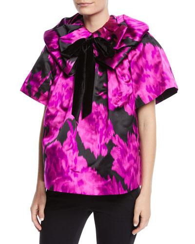 Rosette-Collar Velvet-Bow Carnation-Print Silk Blouse