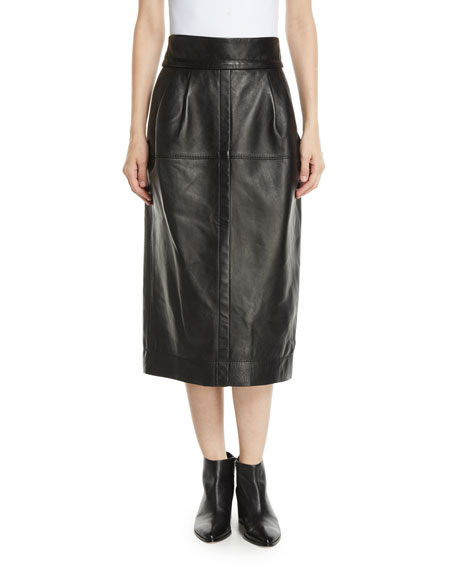 High-Waist A-Line Midi Lamb Leather Skirt, Black