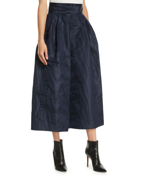 High-Waist Silk Moire Wide-Leg Pants