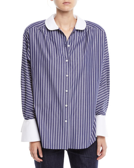 Marc Jacobs Peter Pan Collar Button-Front Striped Shirt