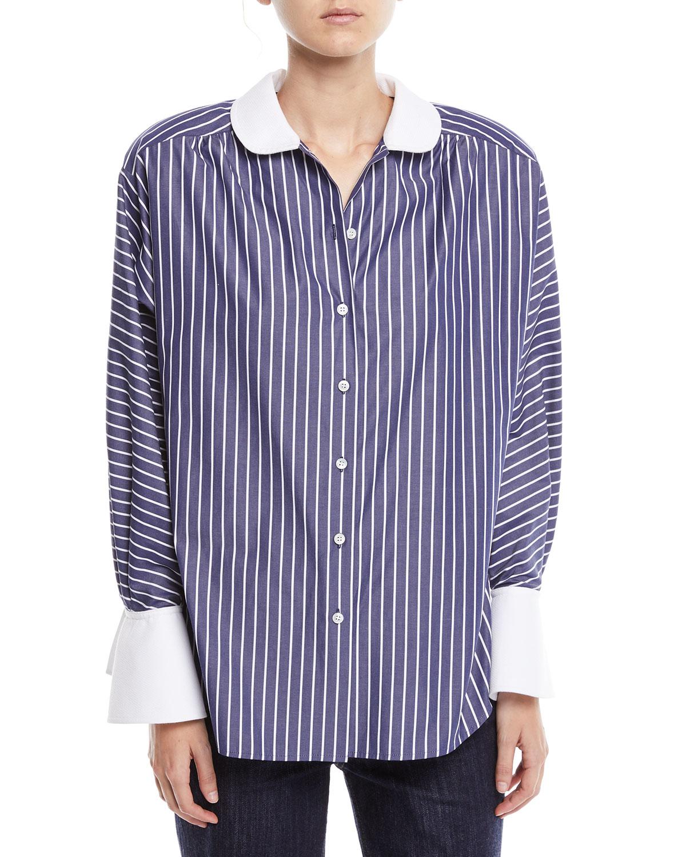 Marc Jacobs Peter Pan Collar Button Front Striped Shirt W Shoulder