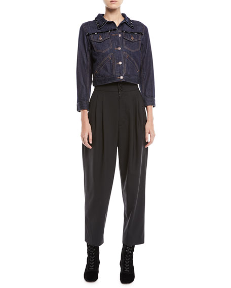 High-Waist Wool Tapered Trousers