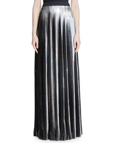 Hologram Plisse Floor-Length Evening Skirt
