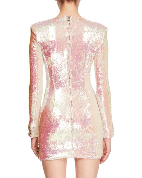 Jewel-Neck Long-Sleeve Paillette Mini Cocktail Dress