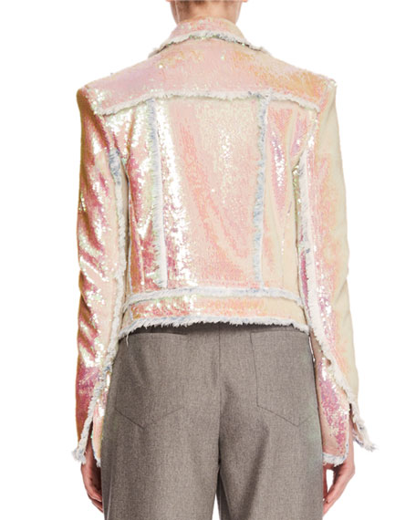 Allover Paillettes Denim Jacket w/ Frayed Edges