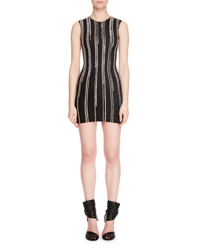 Sleeveless Vertical Embellished Paillettes Mini Cocktail Dress