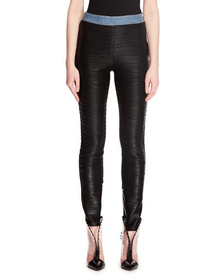 Jersey Plisse on Denim Legging Pants