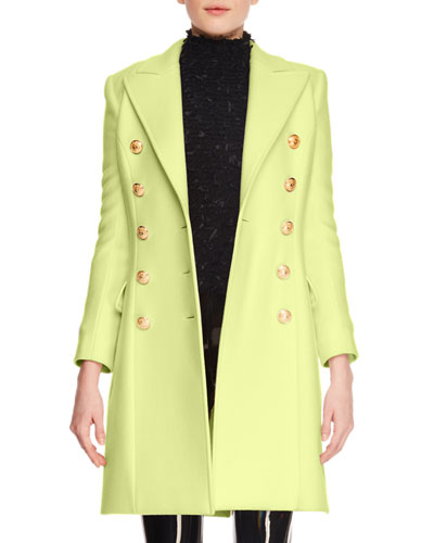 Cashmere-Wool Ten-Button Knee-Length Coat