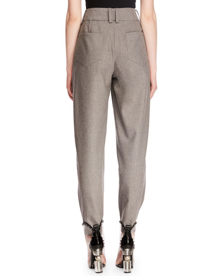 High-Waist Zip-Front Tapered-Leg Wool Suit Pants