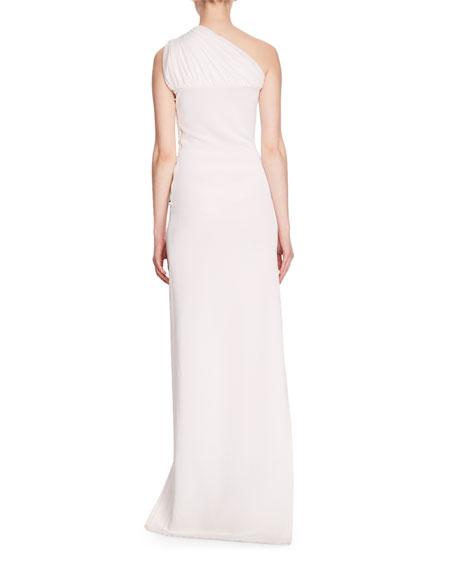 One-Shoulder Strass-Crystal Side Embellished Asymmetric Evening Gown