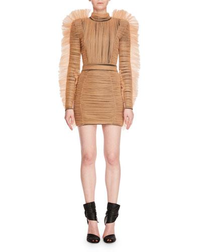 Mock-Neck Long-Sleeve Jersey Tulle Mohawk Cocktail Mini Dress
