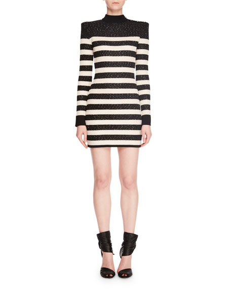 Mock-Neck Long-Sleeve Striped Sequin Mini Cocktail Dress