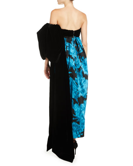 Strapless Carnation-Print Trapeze Evening Gown w/ Velvet Bow