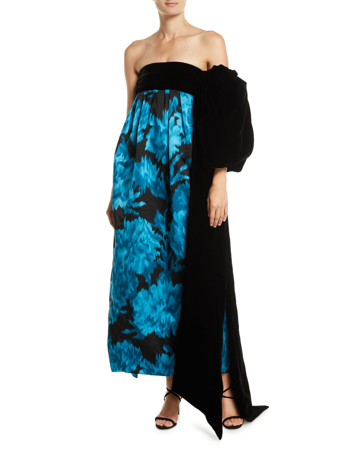 Marc Jacobs Strapless Carnation-Print Trapeze Evening Gown w/ Velvet ...