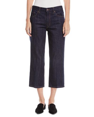 Wide-Leg Cropped Denim Pants w/ Contrast Topstitch