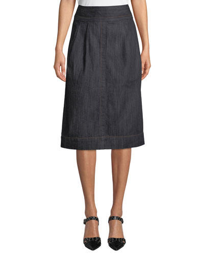 High-Waist A-Line Denim Knee-Length Skirt