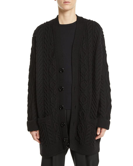 Button-Front Cable-Knit Wool Cardigan w/ Faux-Fur Collar