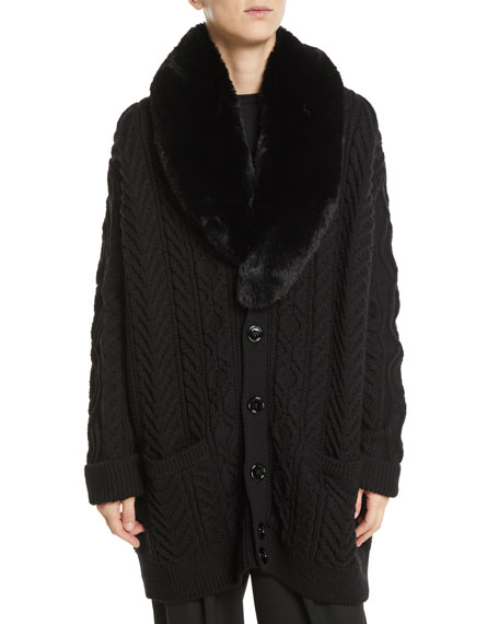 Marc Jacobs Button-Front Cable-Knit Wool Cardigan w/ Faux-Fur