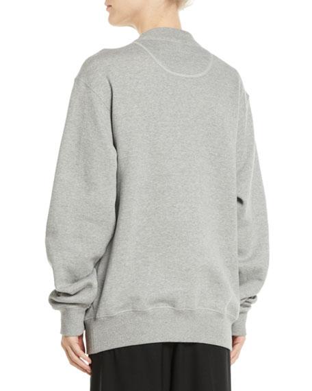Lux Crystal-Logo Crewneck Cotton Sweatshirt