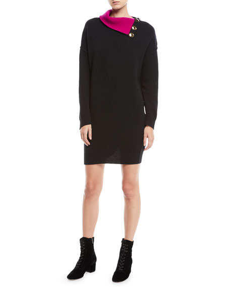 Fold-Over Button Collar Long-Sleeve Wool Tunic Sweaterdress
