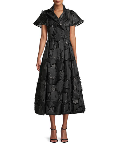 Button-Front Flared-Sleeve A-Line Floral-Embroidered Shirtdress